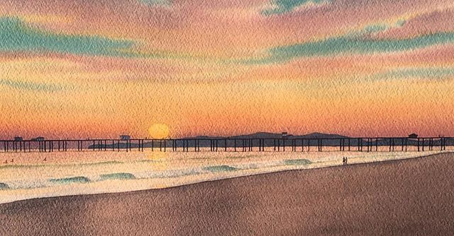 #watercolor #watercolorpainting #painting #rocktopigmentpaint #landscape #watercolorart #art #huntingtonBeach #california #beach #beachlife #oceanview