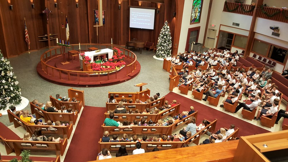 All-school chapel at Christmas.
