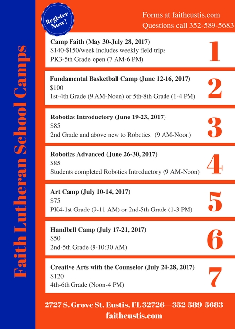 Click on graphic above to open the online registration for any of the camps.