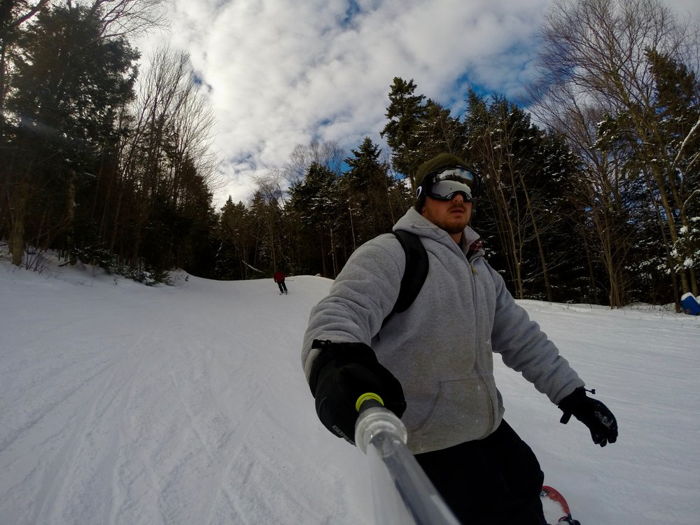 Learning to snowboard, January 2015, at about 205 pounds.