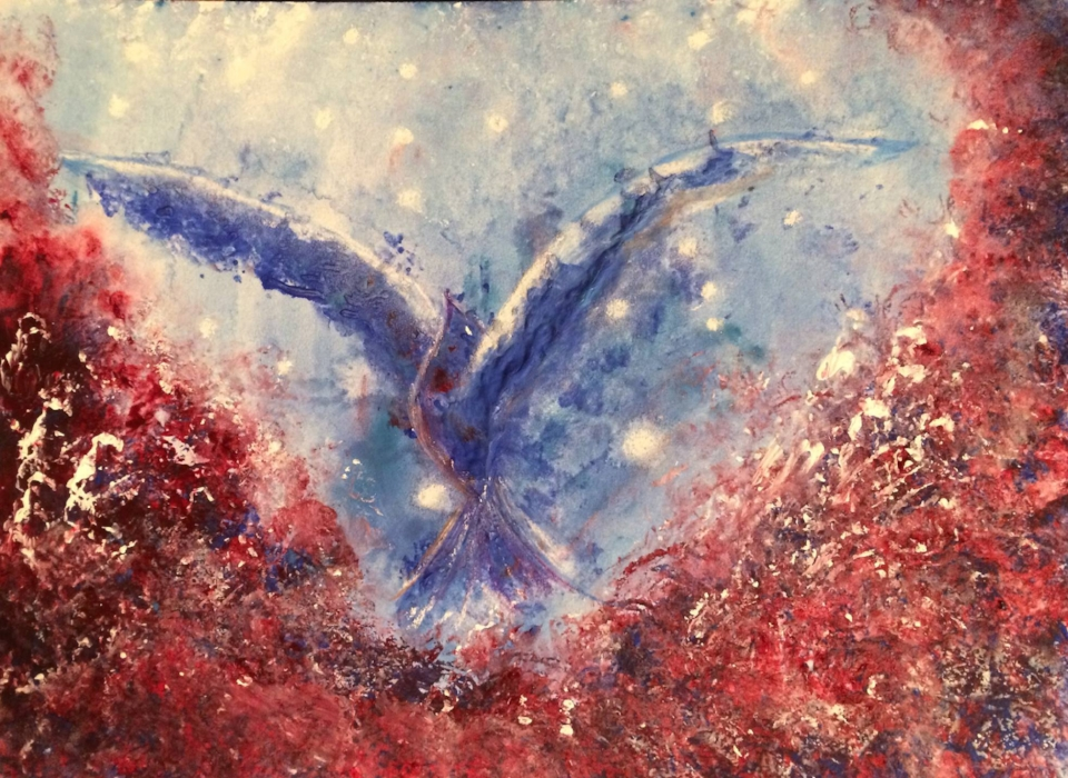 """Thank you Melinda for the most wonderful heart felt message! You have given me inspiration…My wings will now be open and I will soar like this bird, that you painted just for me! It was a pure delight to meet you!""  -Chris H."