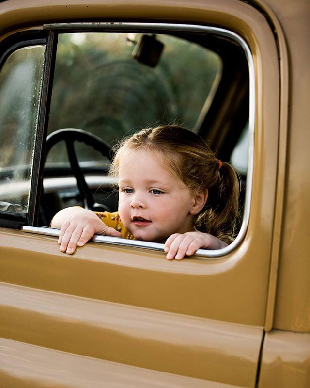 There's no time to be bored in a world as beautiful as this. #connecticut #portraitphotography #portrait #babygirl #vintagetruck #vintage #fall #love