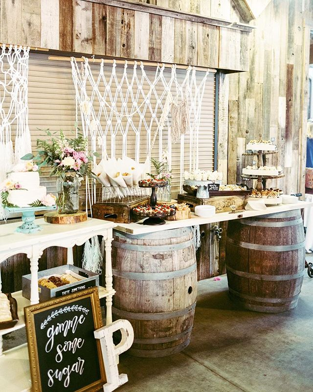 For all our sweet tooth couples, how about showering your guests with a dessert bar? We're pretty sure they'll thank you😋🍫🍪🍮 #weddingfun #dessertbar #gimmesomesugar #rusticwedding