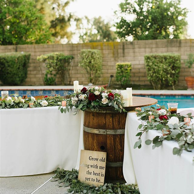 Love the Diversity of Wine Barrel Cocktail Tables. We use them as sweetheart tables, sign in tables, dessert, cake, or communion! 📷: @lovelylight_imagery  #wedding #winebarrels #rusticdecor  #socalweddings #meridianevents #weddingtables #cocktailtables #meridianrentals