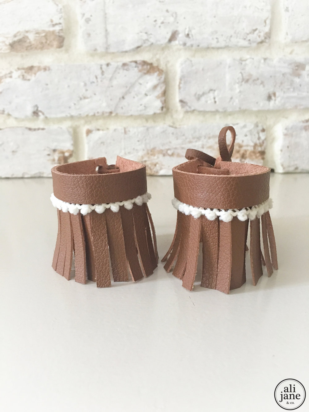 Toddler fringe brown leather ankle cuff