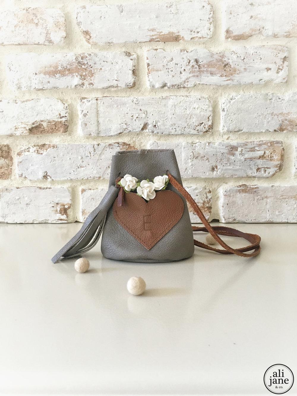 Girl's gray leather keepsake purse
