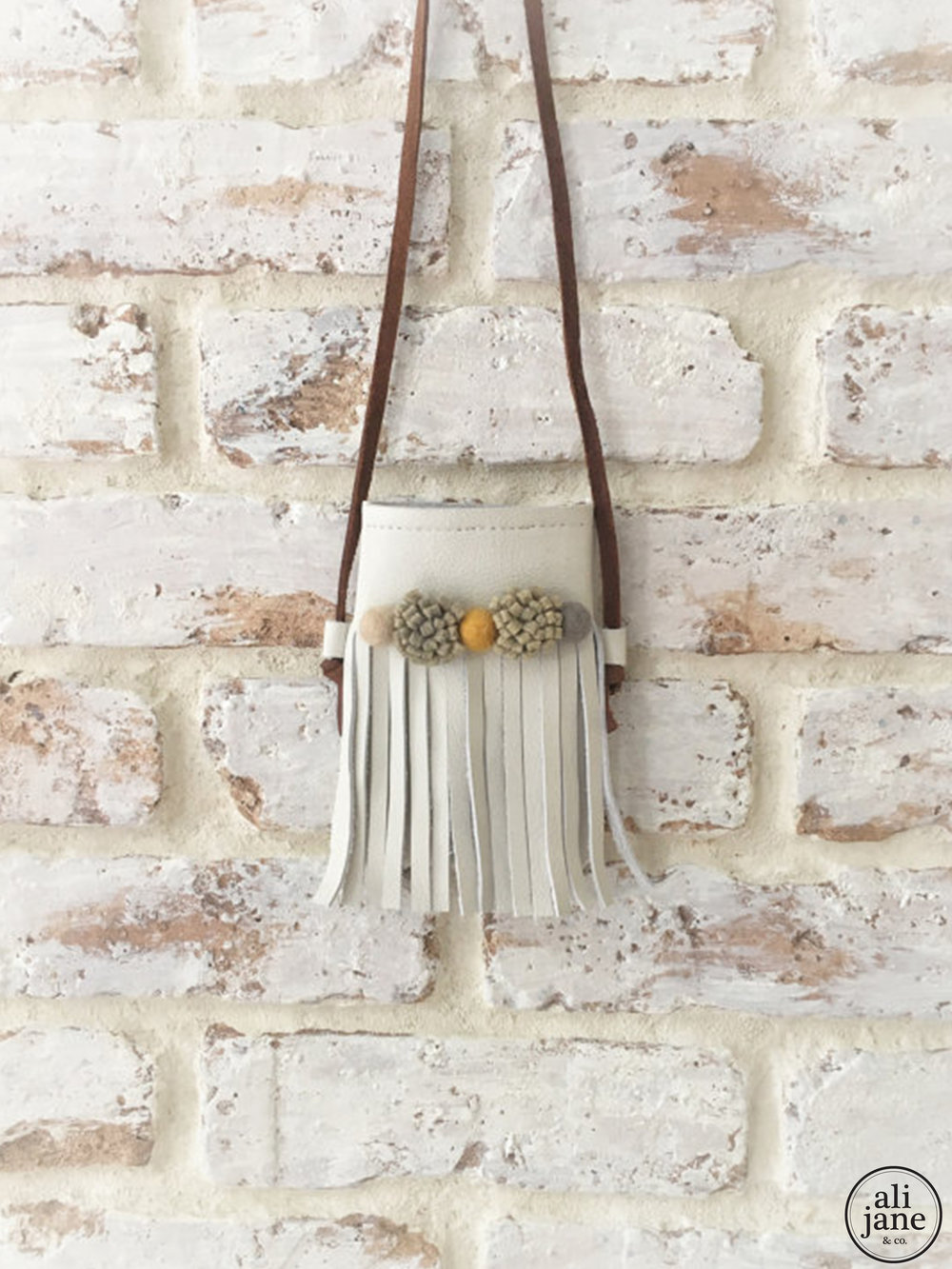 Girl's cream leather boho fringe bag