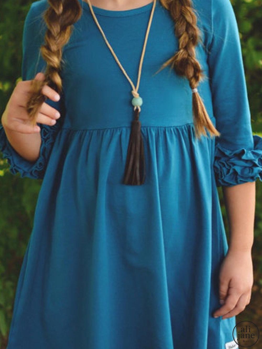 Dark brown leather tassel necklace