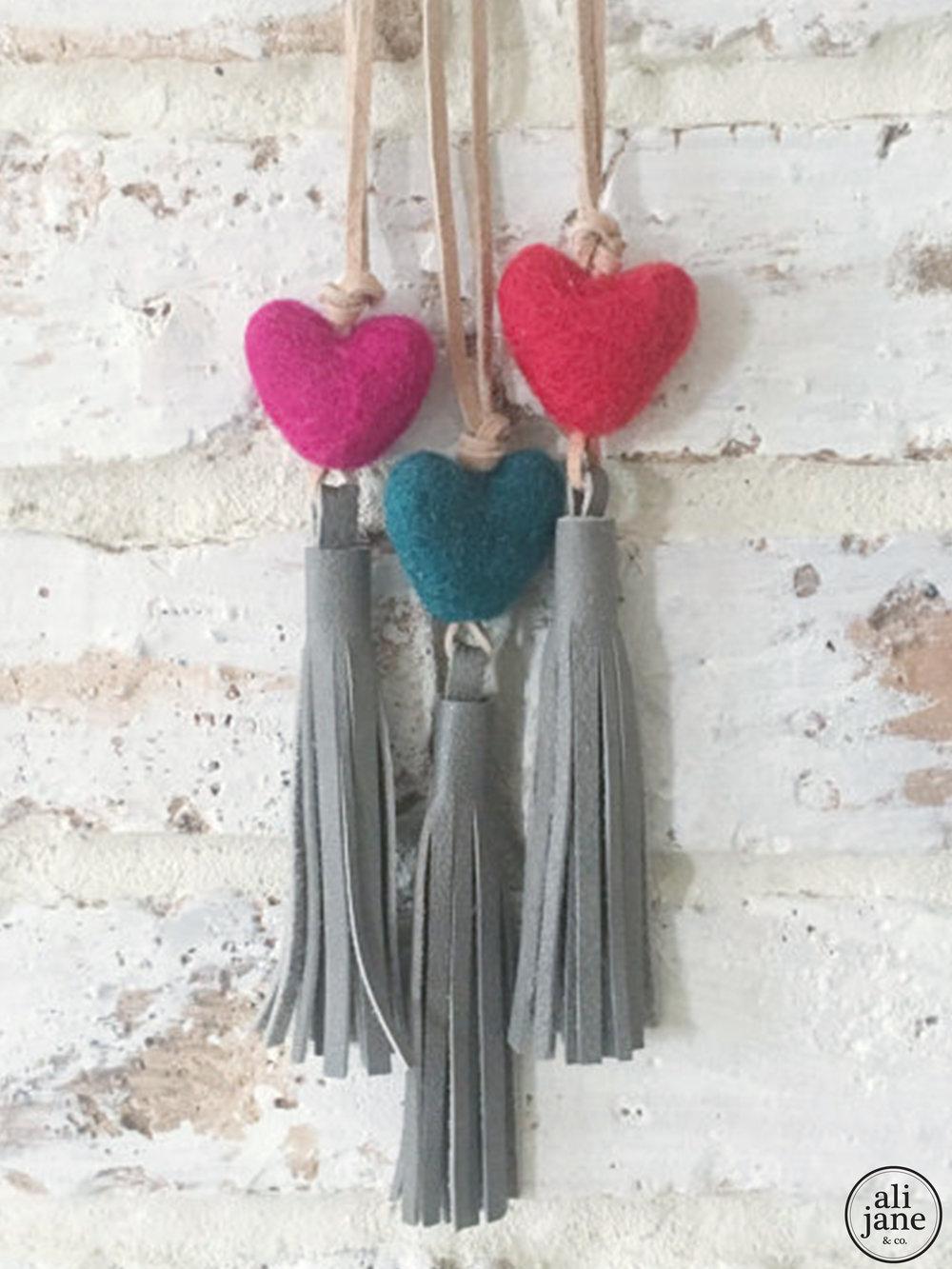Little girls gray tassel necklace with heart wool felt pom pom
