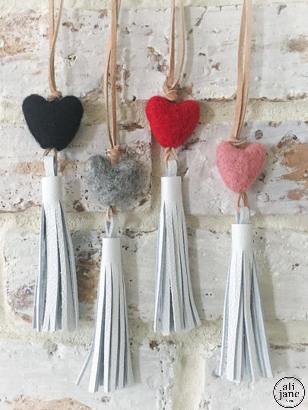 Little girls ivory tassel necklace with heart wool felt pom pom