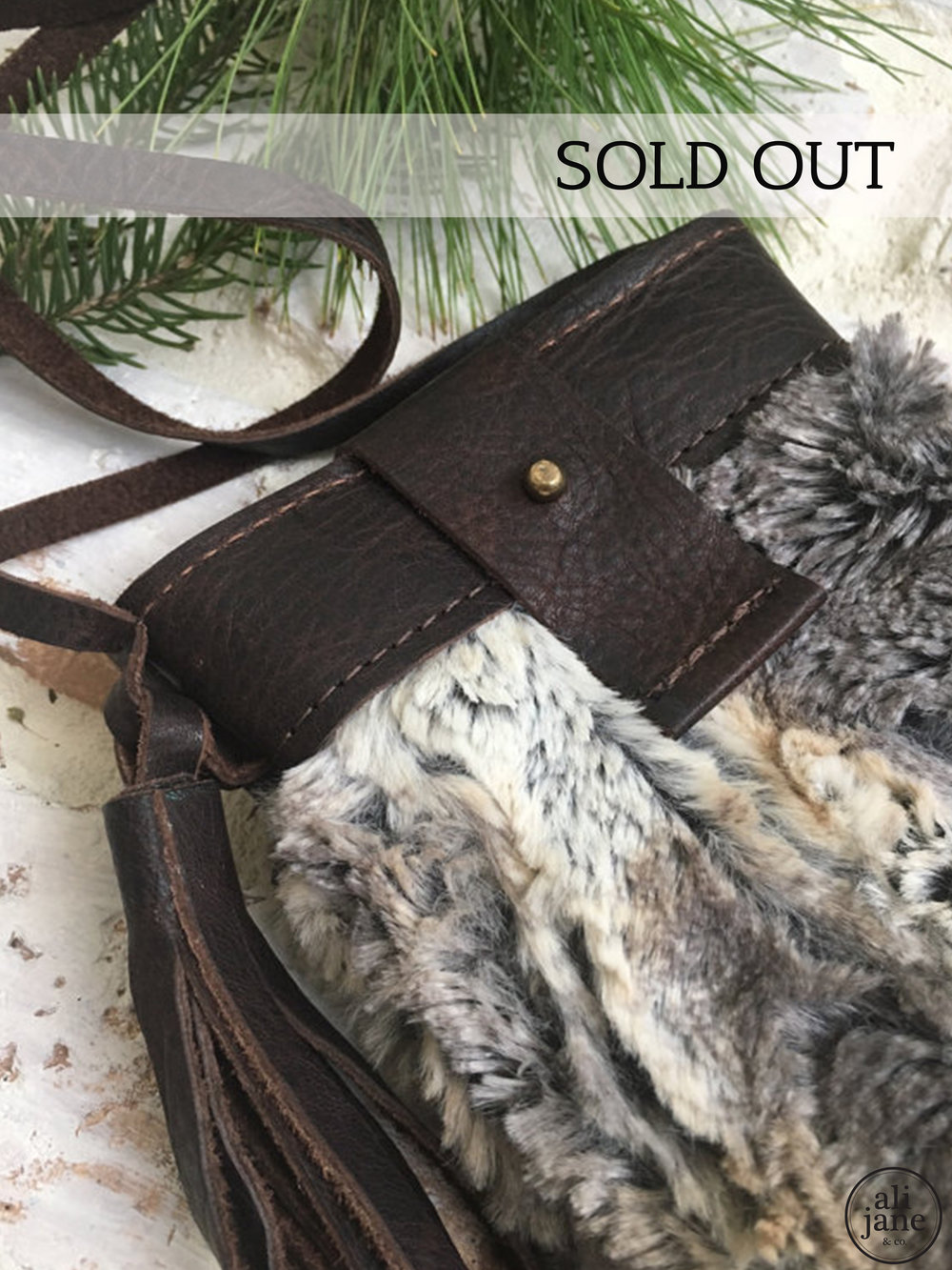 Mini LUXE fur and leather purse
