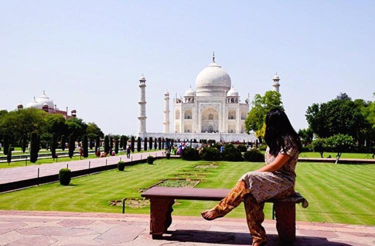 In full Pant Suit at Taj Mahal