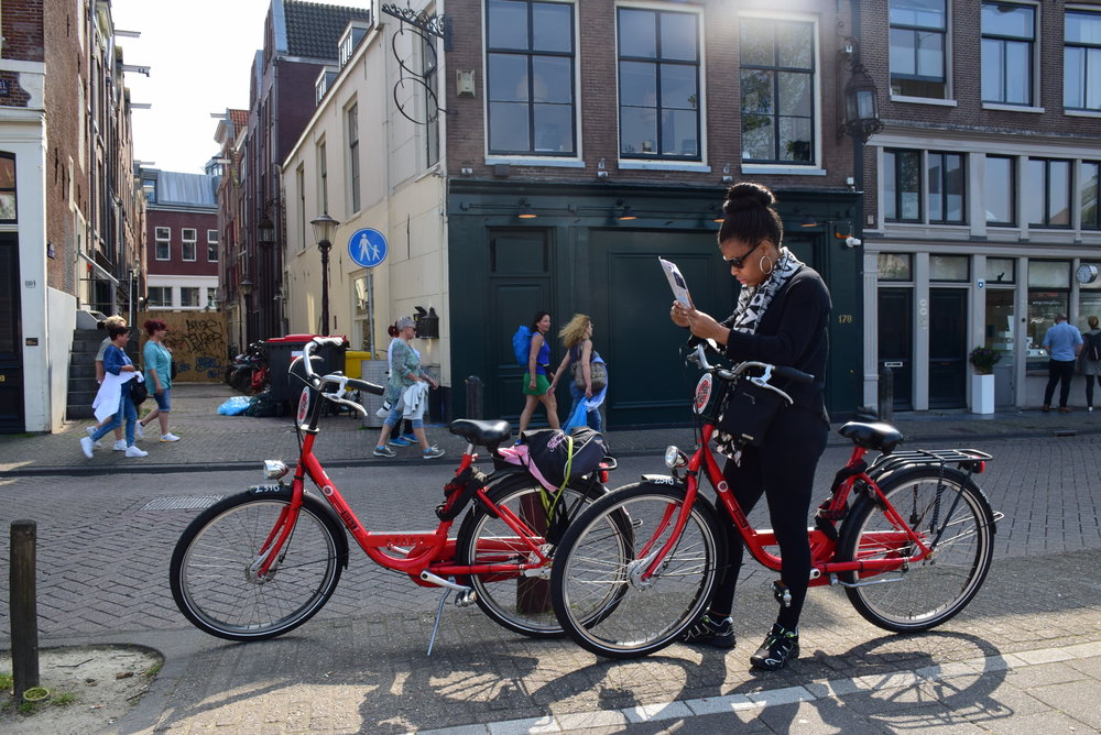 Riding bikes and figuring out the map in Amsterdam