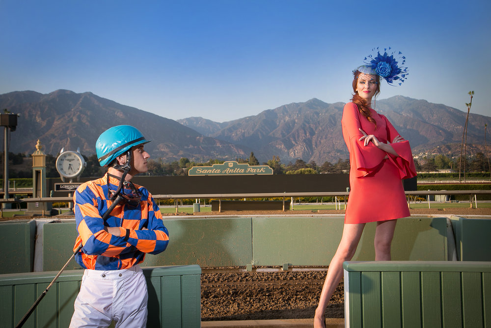 bask fashion shoot featuring model Amanda Fields and special guest jockey Ignacio Puglisi on location at Santa Anita Park. Photo by Tony Florez
