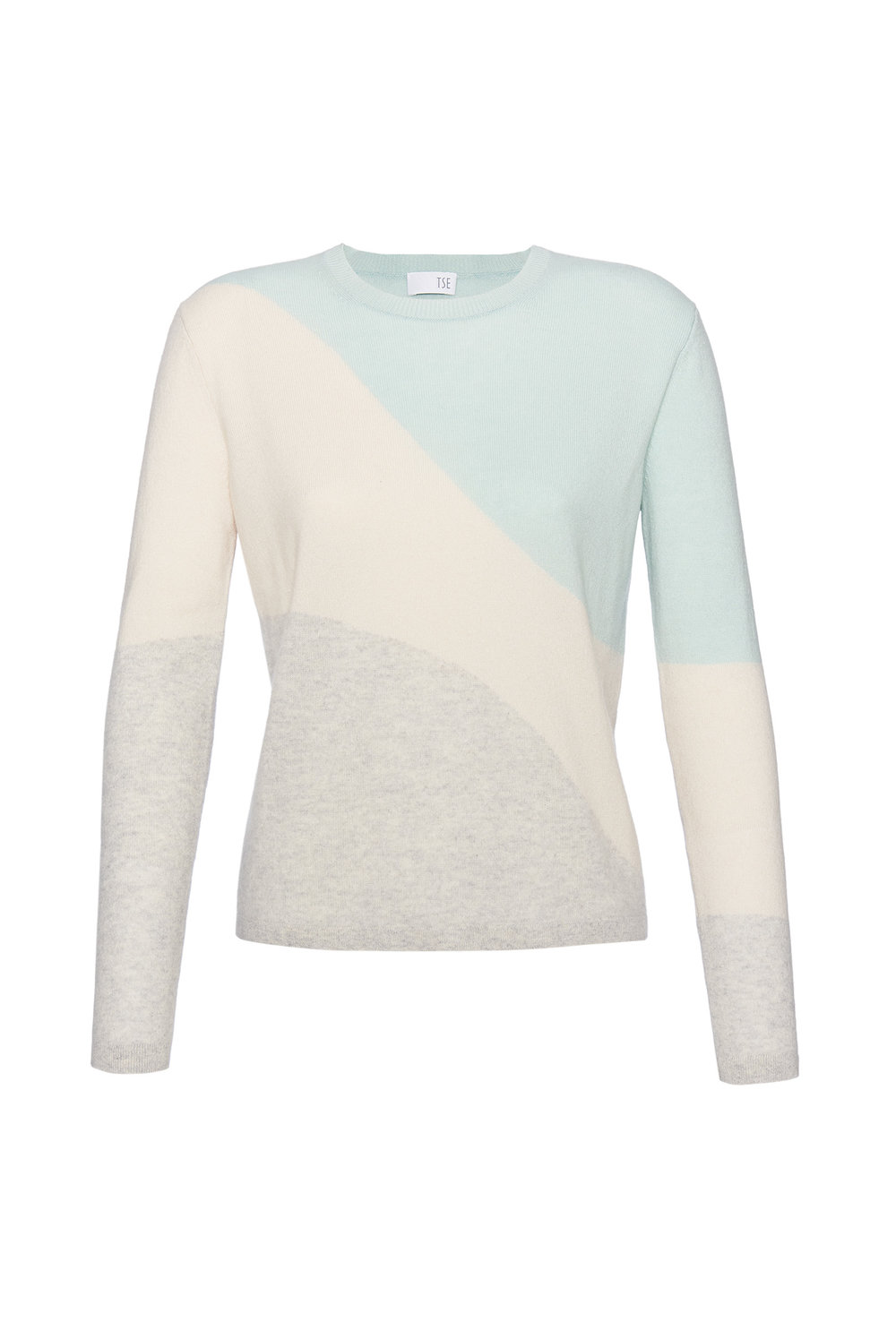 TSE Cashmere Crewneck Sweater in Instarsia Colorblock Wave, $525, at TSECashmere.com