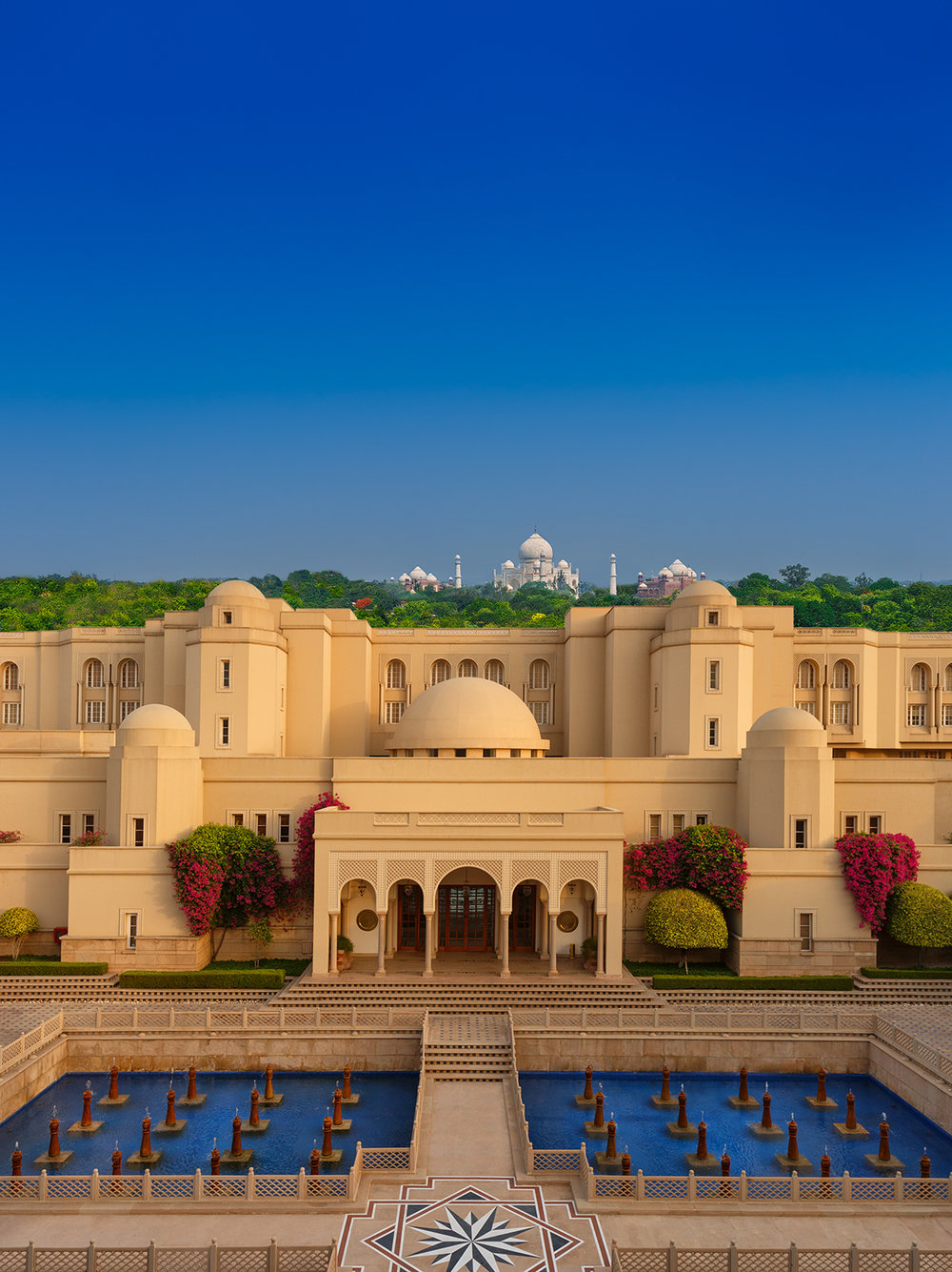 Aerial view of the grounds at The Oberoi Amarvilas with the Taj Mahal in the distance