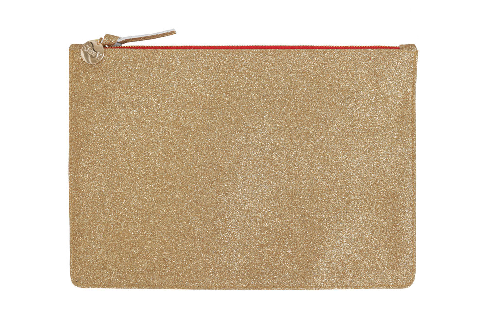 Clare V. Margo Flat Clutch in Gold Glitter, $215