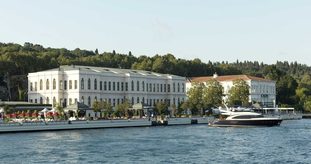 The beautiful Four Seasons Hotel Istanbul at the Bosphorus overlooks the famed strait that straddles Europe and Asia