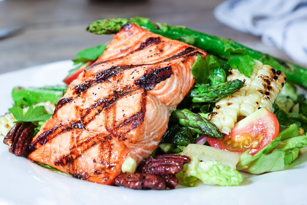 Grilled Citrus Glazed Salmon Salad