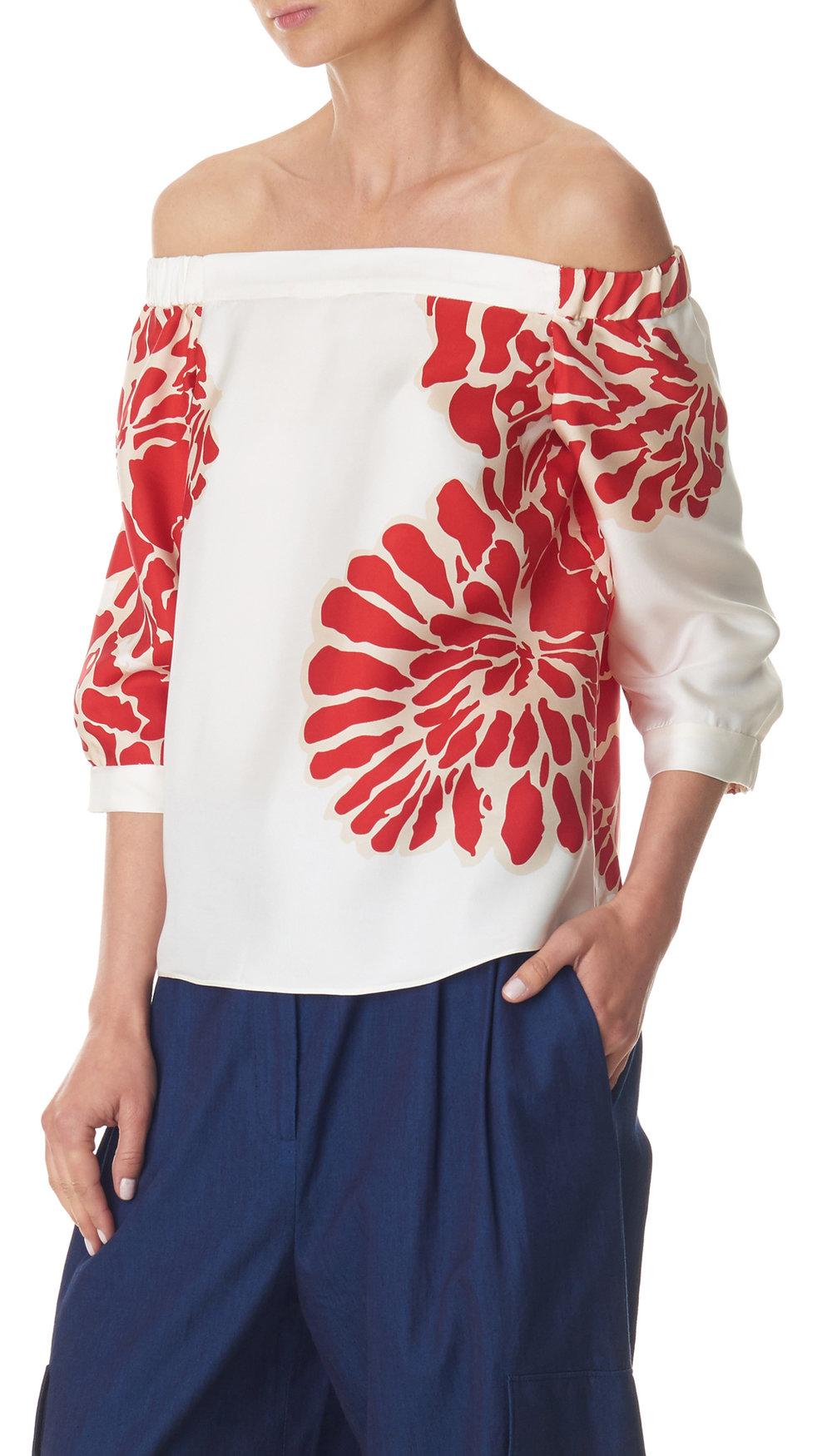 Tibi Orla Bloom Off Shoulder Top in Silk Twill,$365, at Tibi.com