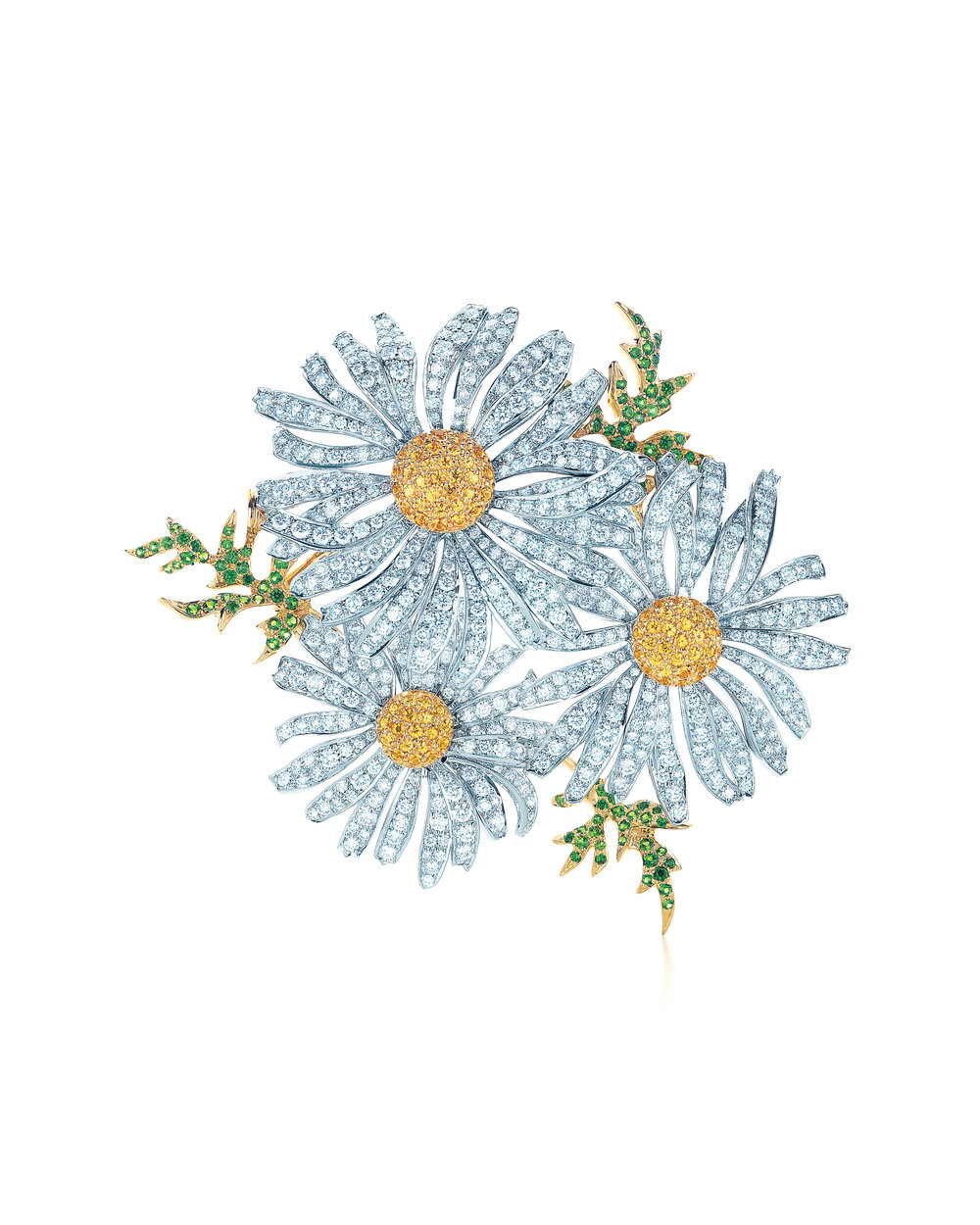 Tiffany Daisy Brooch with Diamonds, Spessartites and Tsavorites in 18 karat White and Yellow Gold, Tiffany.com