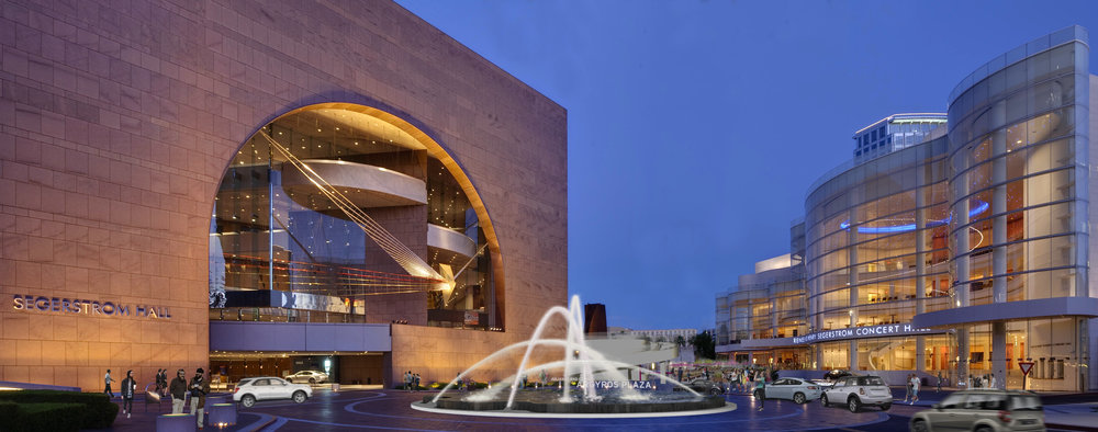 The dazzling, new fountain—with shimmering arches of water—marks the entrance to the Julianne and George Argyros Plaza. Photo courtesy of Michael Maltzan