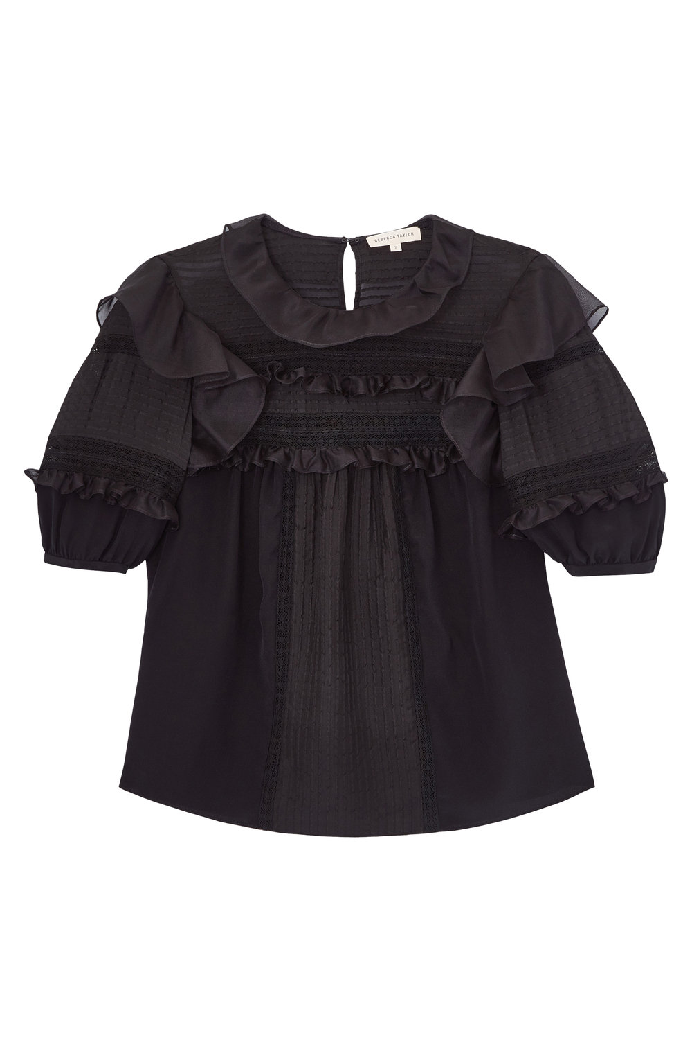 Rebecca Taylor Short Sleeve Silk & Lace Top,$395, RebeccaTaylor.com