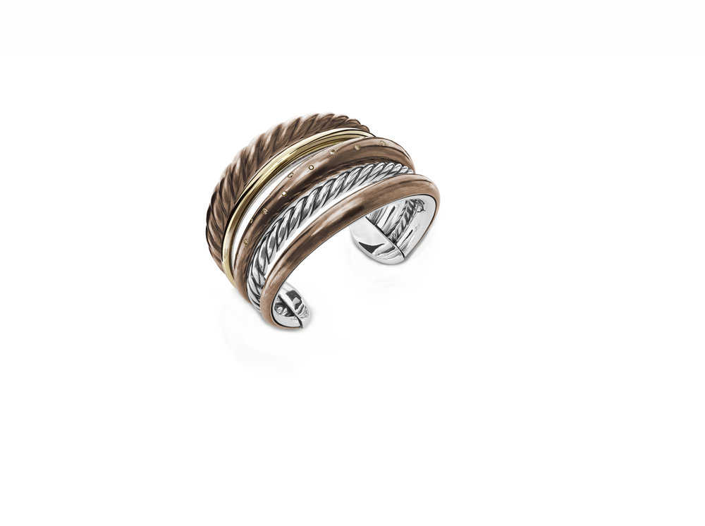 David Yurman Mixed-Metal Five-Row Bracelet, $2,500, DavidYurman.com