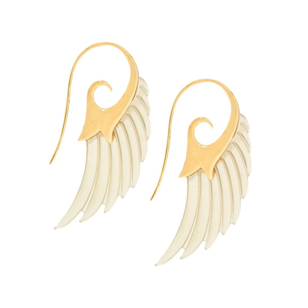 Broken English Noor Fares White Wing Earrings, $2905, BrokenEnglishJewelry.com