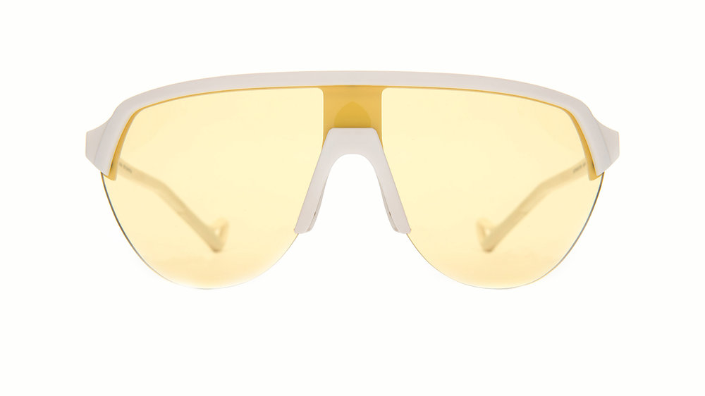 District Vision Nagata in White/Sport Yesllow, $250, at BLACK OPTICAL Lido Marina Village and BlackOptical.com