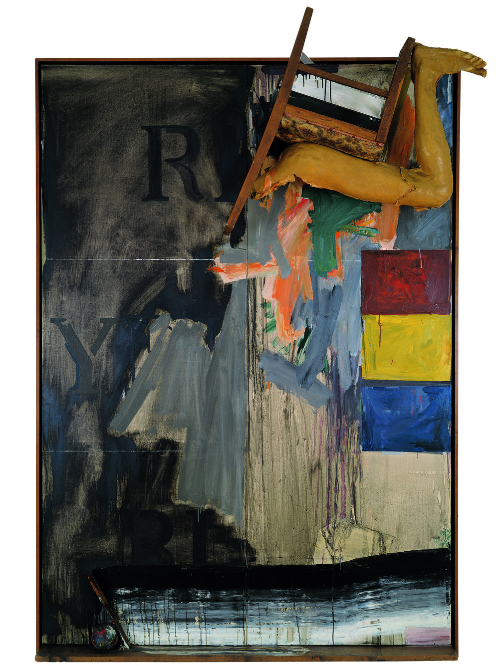 The Broad Museum: Jasper Johns, Watchman, 1964, oil on canvas with objects (two panels), 85 x 60 1/4 in., Art © Jasper Johns/Licensed by VAGA, New York, NY.