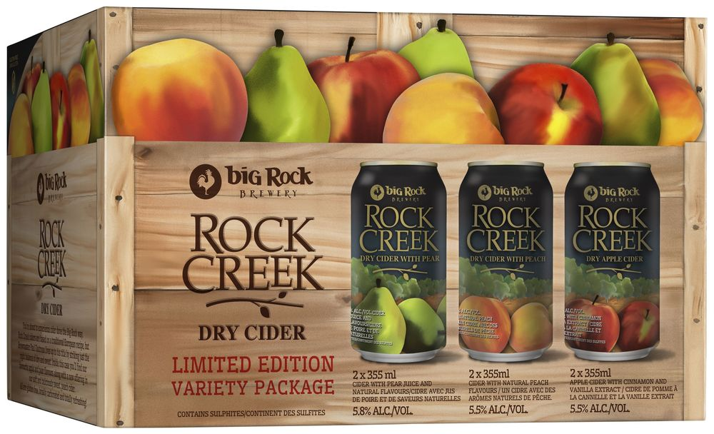 The full Rock Creek Cider range, packaged into a 'fruit crate; themed variety pack.