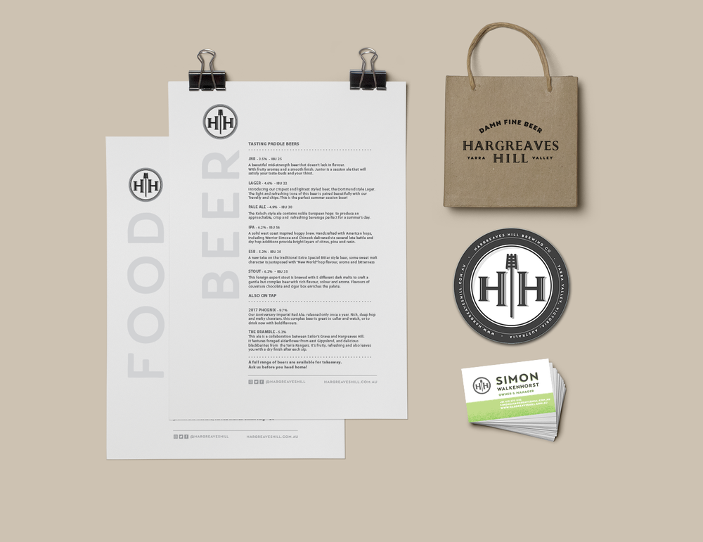 The Hargreaves Hill restaurant needed some branding love too!