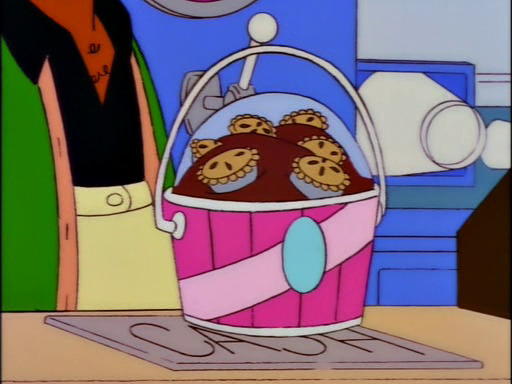 abloodymess :       So, what will it be, Mr. Simpson? Your usual bucket of ice cream covered with miniature pies?
