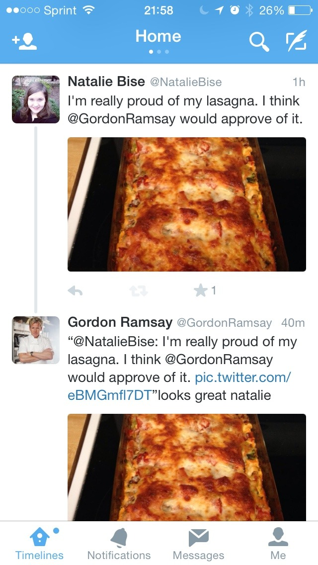 upsidedowntowerofpimps :   I HAVE HONORED THE FAMILY. MY LASAGNA HAS HONORED THE FAMILY. I AM SO HAPPY RIGHT NOW GORDAN RAMSAY THINKS THAT MY LASAGNA LOOKS GREAT. MY LIFE HAS BEEN MADE. I AM SO HAPPY I AM ABOUT TO CRY