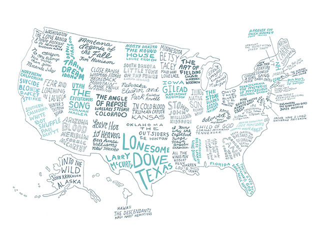"mxcleod :      The Literary United States: A Map of the Best Book for Every State      ALABAMA :   To Kill a Mockingbird,  Harper Lee:   ""This time we aren't fighting the Yankees, we're fighting our friends. But remember this, no matter how bitter things get, they're still our friends and this is still our home.""       ALASKA :   Into the Wild , John Krakauer:   ""The very basic core of a man's living spirit is his passion for adventure. The joy of life comes from our encounters with new experiences, and hence there is no greater joy than to have an endlessly changing horizon, for each day to have a new and different sun.""         ARIZONA:  Blood Meridian , Cormac McCarthy:   ""The universe is no narrow thing and the order within it is not constrained by any latitude in its conception to repeat what exists in one part in any other part. Even in this world more things exist without our knowledge than with it and the order in creation which you see is that which you have put there, like a string in a maze, so that you shall not lose your way.""         ARKANSAS:  I Know Why the Caged Bird Sings , Maya Angelou:   ""If growing up is painful for the Southern Black girl, being aware of her displacement is the rust on the razor that threatens the throat. It is an unnecessary insult.  ""          CALIFORNIA (southern):  The White Boy Shuffle,  Paul Beatty:   ""I was the funny, cool black guy. In Santa Monica, like most predominantly white sanctuaries from urban blight, 'cool black guy' is a versatile identifier used to distinguish the harmless black male from the Caucasian juvenile while maintaining politically correct semiotics.""         CALIFORNIA (northern):  Suicide Blonde , Darcey Steinke:   ""You'll see, there are a million ways to kill off the soft parts of yourself.""          COLORADO:  Angle of Repose,  Wallace Stegner:   ""Home is a notion that only nations of the homeless fully appreciate and only the uprooted comprehend.""         CONNECTICUT :   Nine Stories,    ""Uncle Wiggily in Connecticut,"" J.D. Salinger:   ""'That dopey maid,' Eloise said without moving from the couch. 'I dropped two brand-new cartons in front of her nose about an hour ago. She'll be in, any minute, to ask me what to do with them. Where the hell was I?'""         DELAWARE :   The Good Lord Bird , James McBride :  ""Some things in this world just ain't meant to be, not in the times we want 'em to, and the heart has to hold it in this world as a remembrance, a promise for the world that's to come. There's a prize at the end of all of it, but still, that's a heavy load to bear.""         FLORIDA:    Their Eyes Were Watching God , Zora Neale Hurston:   ""She was stretched on her back beneath the pear tree soaking in the alto chant of the visiting bees, the gold of the sun and the panting breath of the breeze when the inaudible voice of it all came to her. She saw a dust-bearing bee sink into the sanctum of a bloom; the thousand sister-calyxes arch to meet the love embrace and the ecstatic shiver of the tree from root to tiniest branch creaming in every blossom and frothing with delight.""          GEORGIA :   Cane , Jean Toomer :  ""Night winds in Georgia are vagrant poets, whispering.""          HAWAII:    The Descendants , Kaui Hart Hemmings:   ""I bet in big cities you can walk down the street scrowling and no one will ask you what's wrong or encourage you to smile, but everyone here has the attitude that we're lucky to live in Hawaii; paradise reigns supreme. I think paradise can go fuck itself.""         IDAHO:  Train Dreams , Denis Johnson:   ""He liked the grand size of things in the woods, the feeling of being lost and far away, and the sense he had that with so many trees as wardens, no danger could find him.""          ILLINOIS:  Native Son , Richard Wright:   ""Goddamnit, look! We live here and they live there. We black and they white. They got things and we ain't. They do things and we can't. It's just like livin' in jail.""         INDIANA:  The Stone Diaries , Carol Shields:   ""It makes her shiver to think of it, how not one pair of eyes can see through the roof and walls of her house and regard her as she moves through her dreamlike days, bargaining from minute to minute with indolence, that tempter.""         IOWA:  Gilead , Marilynne Robinson:   ""There are two occasions when the sacred beauty of Creation becomes dazzlingly apparent, and they occur together. One is when we feel our mortal insufficiency to the world, and the other is when we feel the world's mortal insufficiency to us.""          KANSAS:  In Cold Blood , Truman Capote :  ""Then starting home, he walked toward the trees, and under them, leaving behind him the big sky, the whisper of wind voices in the wind-bent wheat.""         KENTUCKY:  Beloved , Toni Morrison:   ""It never looked as terrible as it was and it made her wonder if hell was a pretty place too. Fire and brimstone all right, but hidden in lacy groves.""          LOUISIANA:  All the King's Men , Robert Penn Warren :  ""The air so still it aches like the place where the tooth was on the morning after you've been to the dentist or aches like your heart in the bosom when you stand on the street corner waiting for the light to change and happen to recollect how things once were and how they might have been yet if what happened had not happened.""         MAINE:  Carrie , Stephen King:   ""They had become a fixed star in the shifting firmament of the high school's relationships, the acknowledged Romeo and Juliet. And she knew with sudden hatefulness that there was one couple like them in every white suburban high school in America.""          MARYLAND:  Jacob Have I Loved , Katherine Patterson:   ""All my dreams of leaving, but beneath them I was afraid to go. I had clung to them, to Rass, yes, even to my grandmother, afraid that if I loosened my fingers an iota, I would find myself once more cold and clean in a forgotten basket.""         MASSACHUSETTS:  The Bell Jar , Sylvia Plath :  ""I wanted to be where nobody I knew could ever come.""          MICHIGAN:  Split Images , Elmore Leonard:   ""Coming out of the City-County Building, walking east on Jefferson, they started over and spoke about the weather, looking off at the Ford Auditorium over on the riverfront, the fountain misting in Hart Plaza, Bryan saying it was a little too nice, it wasn't like April, April in Detroit was miserable, wet and cold with dirty snow left over from the winter; Angela saying she lived in Arizona, Tuscon, and didn't know much about weather, outside of weather in New York when you wanted a taxi; Bryan said he thought that should about do it for weather, though he could tell her how muggy it got in the summer if she wanted.""          MINNESOTA:  Betsy and Tacy Go Downtown , Maud Hart Lovelace:   ""Betsy was so full of joy that she had to be alone. She went upstairs to her bedroom and sat down on Uncle Keith's trunk. Behind Tacy's house the sun had set. A wind had sprung up and the trees, their color dimmed, moved under a brooding sky. All the stories she had told Tacy and Tib seemed to be dancing in those trees, along with all the stories she planned to write some day and all the stories she would read at the library. Good stories. Great stories. The classics. Not Rena's novels.""            MISSISSIPPI:  Long Division , Kiese Laymon:   ""People always say change takes time. It's true, but really it's people who change people, and then those people have to decide if they really want to stay the new people that they're changed into.""         MISSOURI:  Stoner , John Williams:   ""There was a softness around him, and a languor crept upon his limbs. A sense of his own identity came upon him with a sudden force, and he felt the power of it. He was himself, and he knew what he had been.""         MONTANA:  Legends of the Fall , Jim Harrison:  ""Sitting on the stump under the burden of his father's death and even the mortality inherent in the dying, wildly colored canopy of leaves, he somehow understood that life was only what one did every day…. Nothing was like anything else, including himself, and everything was changing all of the time. He knew he couldn't perceive the change because he was changing too, along with everything else.""         NEBRASKA:  Eleanor & Park , Rainbow Rowell:   ""Ever since the first day they'd met, Eleanor was always seeing him in unexpected places. It was like their lives were overlapping lines, like they had their own gravity. Usually, that serendipity felt like the nicest thing the universe had ever done for her.""         NEVADA:  Fear and Loathing in Las Vegas , Hunter S. Thompson:   ""Hallucinations are bad enough. But after awhile you learn to cope with things like seeing your dead grandmother crawling up your leg with a knife in her teeth. Most acid fanciers can handle this sort of thing. But nobody can handle that other trip-the possibility that any freak with $1.98 can walk into the Circus-Circus and suddenly appear in the sky over downtown Las Vegas twelve times the size of God, howling anything that comes into his head. No, this is not a good town for psychedelic drugs.""         NEW HAMPSHIRE:  A Prayer for Owen Meany , John Irving:   ""If you care about something you have to protect it; If you're lucky enough to find a way of life you love, you have to find the courage to live it.""         NEW JERSEY:  American Pastoral,  Philip Roth:   ""Yes, alone we are, deeply alone, and always, in store for us, a layer of loneliness even deeper. There is nothing we can do to dispose of that. No, loneliness shouldn't surprise us, as astonishing to experience as it may be. You can try yourself inside out, but all you are then is inside out and lonely instead of inside in and lonely.""          NEW MEXICO:  Leave Her to Heaven , Ben Ames Williams:   ""To be lonely is one thing; to be alone is another. There is no loneliness so acute as that of a man upon a pillory, facing ten thousand eyes; but to be alone is to be free, free from eyes and tongues that watch and question and condemn.""         NEW YORK STATE:  Foxfire: Confessions of a Girl Gang , Joyce Carol Oates:  ""Legs squinted up at the sky, the moon so bright you'd never think it could be merely rock like the earth's common rock and lifeless, merely reflected light from an invisible sun and not a powerful living light of its own.""          NEW YORK CITY :   Daddy Was a Number Runner , Louise Meriwether:  "" Lord, but that hallway was funky, all of those Harlem smells bumping together… The air outside wasn't much better. It was a hot, stifling day, June 2, 1934. The curbs were lined with garbage cans overflowing into the gutters, and a droopy horse pulling a vegetable cart down the avenue had just deposited a steaming pile of manure in the middle of the street. The sudden heat had emptied the tenements. Kids too young for school played on the sidewalks while their mamas leaned out of their windows searching for a cool breeze or sat for a moment on the fire escape.""         NORTH CAROLINA:  Look Homeward Angel , Thomas Wolfe:   ""The mountains were his masters. They rimmed in life. They were the cup of reality, beyond growth, beyond struggle and death. They were his absolute unity in the midst of eternal change.""         NORTH DAKOTA:  The Round House,  Louise Erdrich:   ""I stood there in the shadowed doorway thinking with my tears. Yes, tears can be thoughts, why not?""          OHIO:  The Bluest Eye , Toni Morrison:   ""Certain seeds it will not nurture, certain fruit it will not bear and when the land kills of its own volition, we acquiesce and say the victim had no right to live.""         OKLAHOMA:  The Outsiders , S.E. Hinton:   ""The dawn was coming then. All the lower valley was covered with mist, and sometimes little pieces of it broke off and floated away in small clouds. The sky was lighter in the east, and the horizon was a thin golden line. The clouds changed from gray to pink, and the mist was touched with gold. There was a silent moment when everything held its breath, and then the sun rose. It was beautiful.""          OREGON:  No One Belongs Here More Than You , Miranda July: ""  Look at the sky: that is for you. Look at each person's face as you pass on the street: those faces are for you. And the street itself, and the ground under the street and the ball of fire underneath the ground: all these things are for you. They are as much for you as they are for other people. Remember this when you wake up in the morning and think you have nothing. Stand up and face the east. Now praise the sky and praise the light within each person under the sky. It's okay to be unsure. But praise, praise, praise.""         PENNSYLVANIA:  The Mysteries of Pittsburgh , Michael Chabon:   ""I smoked and looked down at the bottom of Pittsburgh for a little while, watching the kids playing tiny baseball, the distant figures of dogs snatching at a little passing car, a miniature housewife on her back porch shaking out a snippet of red rug, and I made a sudden, frightened vow never to become that small, and to devote myself to getting bigger and bigger and bigger.""         RHODE ISLAND:  The Witches of Eastwick , John Updike:  "" Some people find fall depressing, others hate spring. I've always been a spring person myself. All that growth, you can feel Nature groaning, the old bitch; she doesn't want to do it, not again, no, anything but that, but she has to. It's a fucking torture rack, all that budding and pushing, the sap up the tree trunks, the weeds and the insects getting set to fight it out once again, the seeds trying to remember how the hell the DNA is supposed to go, all that competition for a little bit of nitrogen; Christ, it's cruel.""         SOUTH CAROLINA:  Bastard Out of Carolina , Dorothy Allison:   ""Anney makes the best gravy in the county, the sweetest biscuits, and puts just enough vinegar in those greens. Glenn nodded, though the truth was he'd never had much of a taste for greens, and his well-educated mama had always told him that gravy was bad for the heart. So he was not ready for the moment when Mama pushed her short blond hair back and set that big plate of hot food down in front of his open hands. Glenn took a bite of gristly meat and gravy, and it melted between his teeth. The greens were salt sweet and fat rich. His tongue sang to his throat; his neck went loose, and his hair fell across his face. It was like sex, that food, too good to waste on the middle of the day and a roomful of men too tired to taste.""          SOUTH DAKOTA:  Little Town on the Prairie , Laura Ingalls Wilder:   ""There is no comfort anywhere for anyone who dreads to go home.""          TEXAS:  Lonesome Dov e, Larry McMurtry:   ""The eastern sky was red as coals in a forge, lighting up the flats along the river. Dew had wet the million needles of the chaparral, and when the rim of the sun edged over the horizon the chaparral seemed to be spotted with diamonds. A bush in the backyard was filled with little rainbows as the sun touched the dew… The sun spread reddish-gold light through the shining bushes, among which a few goats wandered, bleating. Even when the sun rose above the low bluffs to the south, a layer of light lingered for a bit at the level of the chaparral, as if independent of its source. The the sun lifted clear, like an immense coin. The dew quickly died, and the light that filled the bushes like red dirt dispersed, leaving clear, slightly bluish air.""         TENNESSEE:  Child of God,  Cormac McCarthy:   ""Each leaf that brushed his face deepened his sadness and dread. Each leaf he passed he'd never pass again. They rode over his face like veils, already some yellow, their veins like slender bones where the sun shone through them. He had resolved himself to ride on for he could not turn back and the world that day was as lovely as any day that ever was and he was riding to his death.""         UTAH:  The Executioner's Song , Norman Mailer:   ""[B]ut when the call came from Shirley Pedler to help in organizing the Utah Coalition Against the Death Penalty, she knew she would go out in the world again with her freaky blond hair, blond to everyone's disbelief—at the age of fifty-four, go out in her denims and chin-length-hanging-down-straight vanilla hair to that Salt Lake world where nobody would ever make the mistake of thinking she was a native Utah lady inasmuch as Utah was the Beehive State. The girls went big for vertical hair-dos, pure monuments to shellac.""         VIRGINIA:  The Confessions of Nat Turner , William Styron: ""  Surely mankind has yet to be born. Surely this is true! For only something blind and uncomprehending could exist in such a mean conjunction with its own flesh, its own kind. How else account for such faltering, clumsy, hateful cruelty?… Yes, it could be that mankind has yet to be born.""         VERMONT:  The Secret History , Donna Tartt:   ""White Sky. Trees fading at the skyline, the mountains gone… I never got used to the way the horizon there could just erase itself and leave you marooned, adrift, in an incomplete dreamscape that was like a sketch for the world you knew—the outline of a single tree standing in for a grove, lamp-posts and chimneys floating up out of context before the surrounding canvas was filled in-an amnesia-land, a kind of skewed Heaven where the old landmarks were recognizable but spaced too far apart, and disarranged, and made terrible by the emptiness around them.""         WYOMING:  Close Range: Wyoming Stories  ""Brokeback Mountain,"" E. Annie Proulx:   ""He pressed his face into the fabric and breathed in slowly through his mouth and nose, hoping for the faintest smoke and mountain sage and salty sweet stink of Jack but there was no real scent, only the memory of it, the imagined power of Brokeback Mountain of which nothing was left but what he held in his hands.""         WISCONSIN:  The Art of Fielding , Chad Harbach:   ""Each of us, deep down, believes that the whole world issues from his own precious body, like images projected from a tiny slide onto an earth-sized screen. And then, deeper down, each of us knows he's wrong.""          WASHINGTON:  The Lone Ranger and Tonto Fistfight in Heaven , Sherman Alexie:   ""Seems like the cold would never go away and winter would be like the bottom of my feet but then it is gone in one night and in its place comes the sun so large and laughable.""         WASHINGTON DC:  You Are One of Them , Elliot Holt:   ""It does no good to see everything as a struggle between opposing factions. Few things are that simple.""         WEST VIRGINIA:  The Glass Castle , Jeanette Walls:   ""Those shining stars, he liked to point out, were one of the special treats for people like us who lived out in the wilderness. Rich city folks, he'd say, lived in fancy apartments, but their air was so polluted they couldn't even see the stars. We'd have to be out of our minds to want to trade places with any of them.""         (x)"