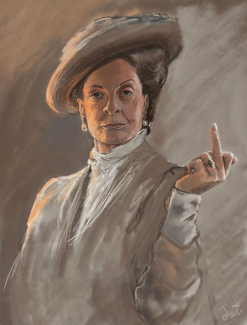 flat-adverb :      lucillebruise :      stunningpicture :     Portrait I drew of the lovely Maggie Smith.     I am getting this framed and hung over my fireplace goddamn.     Same.