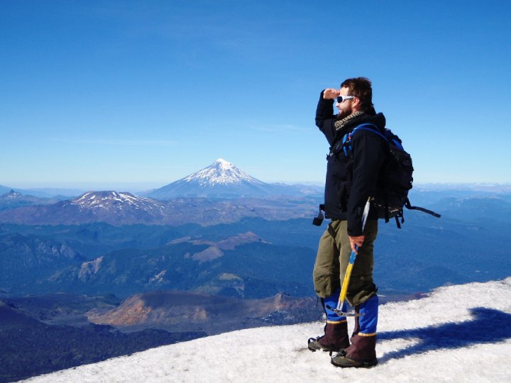 On the summit of Volcano Villarica, southern Chile, having 'knocked the bastard off'. cjG