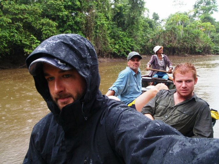 Somewhere in the Amazonian interior in a dugout canoe, me, Josh, Doc Paul, and local-guide Valvina - cjG