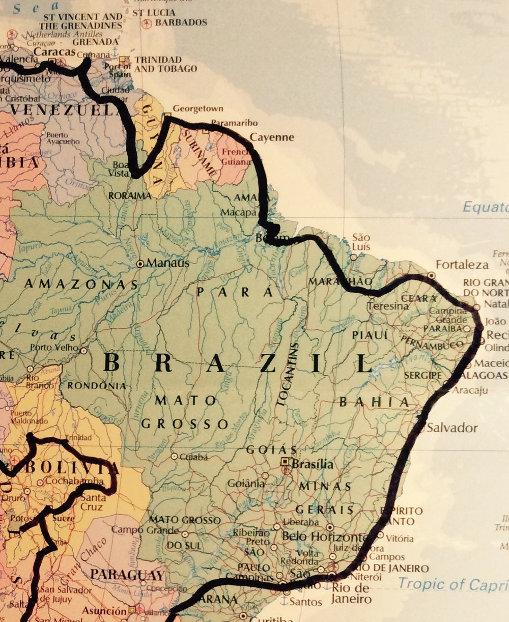 Big Brazil. Crossing the Amazon into Belem means there's two straight weeks of highway riding 500-600kms a day before getting anywhere near Rio - cjG