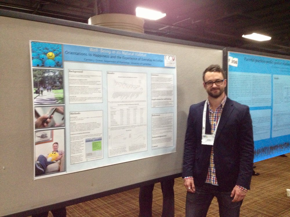 """International Positive Psychology conference, Los Angeles. My poster on  """"Wellbeing in its natural habitat""""  - cjG,"""