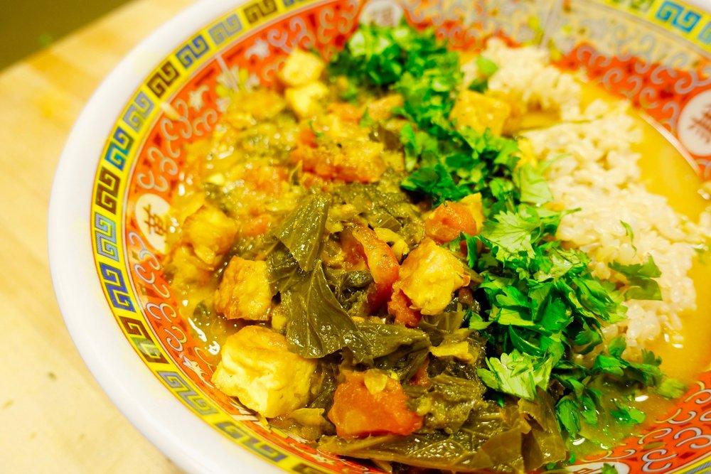 bryant terry tofu curry mustard greens