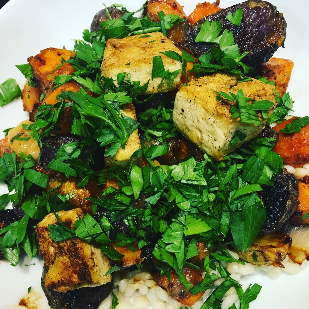 A vegetarian variation on Epicurious'  Coriander-Roasted Chicken Thighs With Miso-Glazed Root Vegetables , using tofu pan-fried with coriander in place of the chicken
