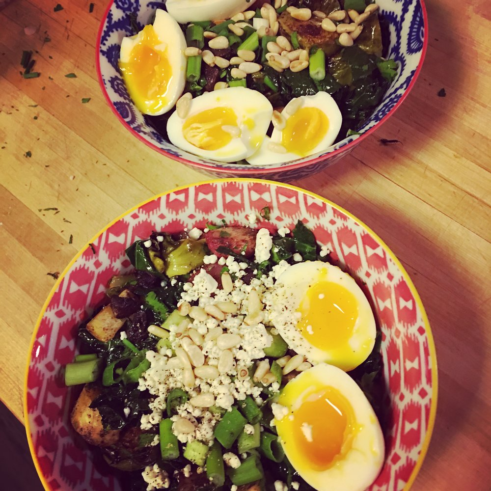 Berbere Veggies: Variation #2   This time with scallions, toasted pine nuts, crumbled goat cheese and 7-minute eggs.