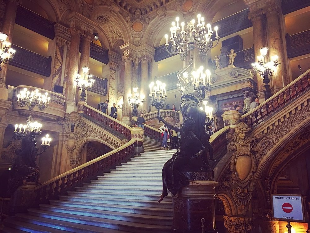 The grand staircase at the Opera