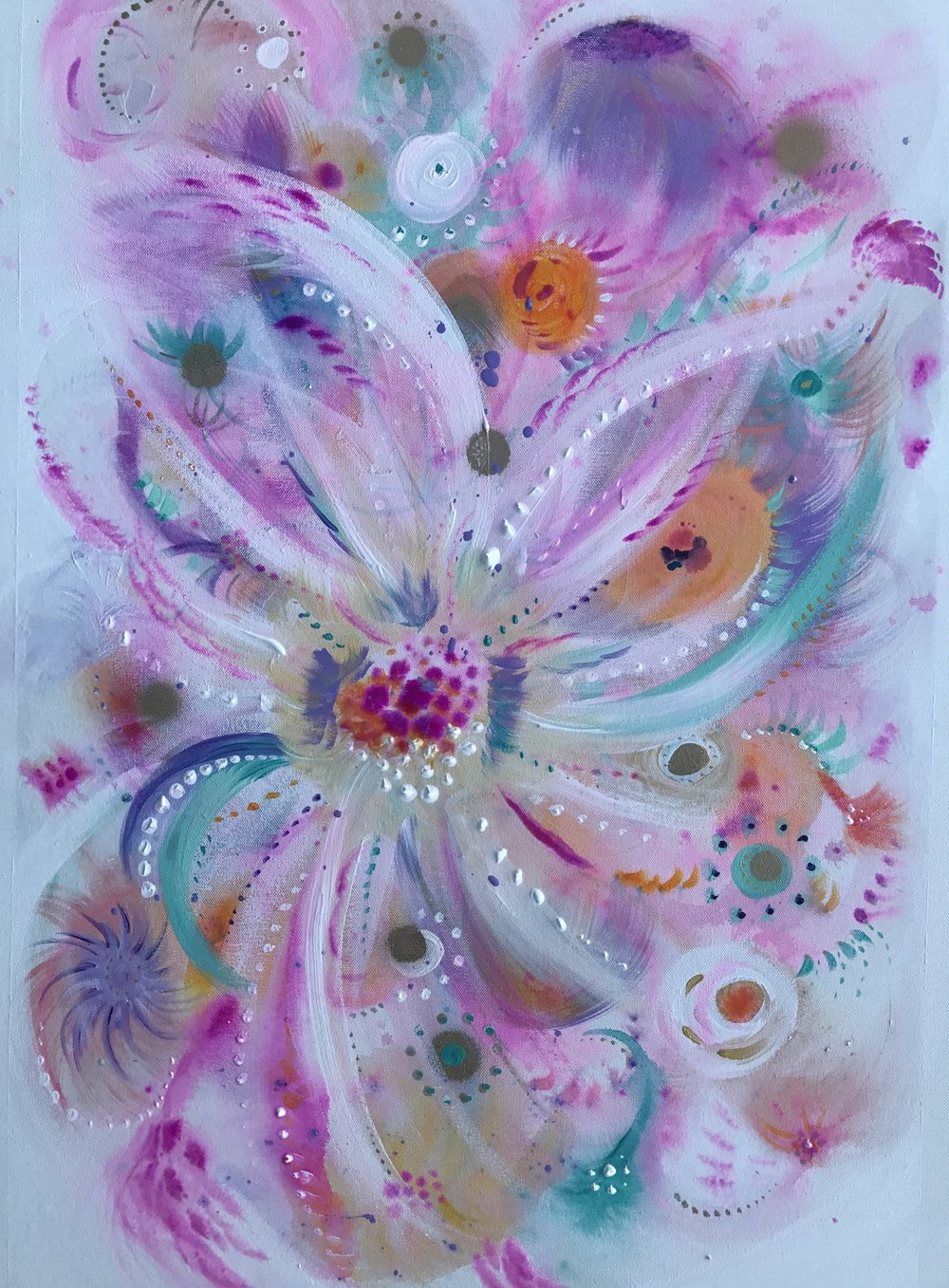 Full Bloom     acrylic, spray paint & water color on canvas