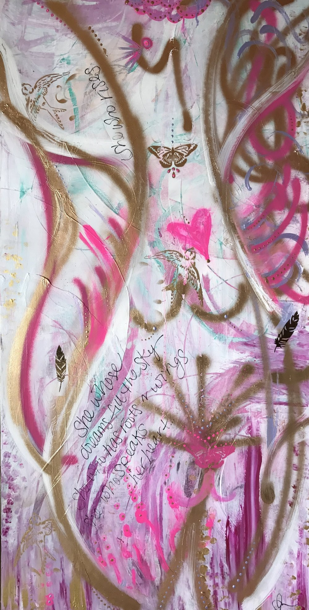 She Who Rises acrylic, spray paint & gold leaf on canvas