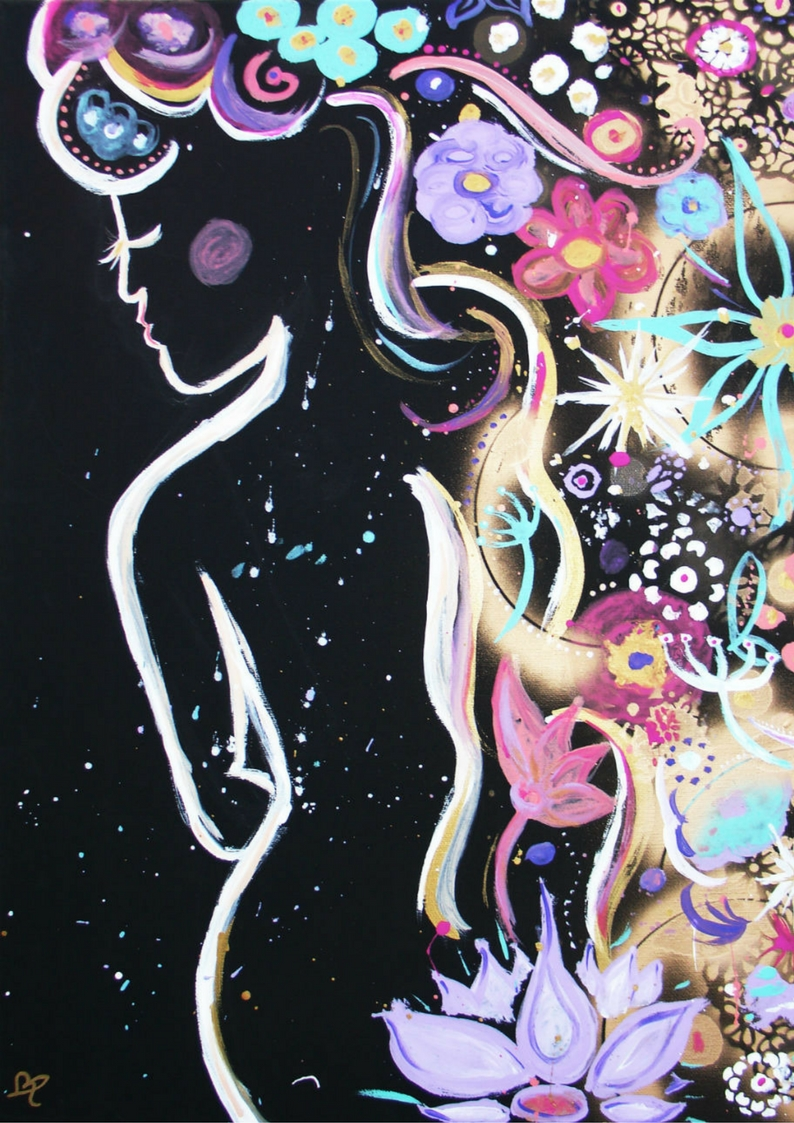 Woman in Bloom acrylic & spray paint on canvas