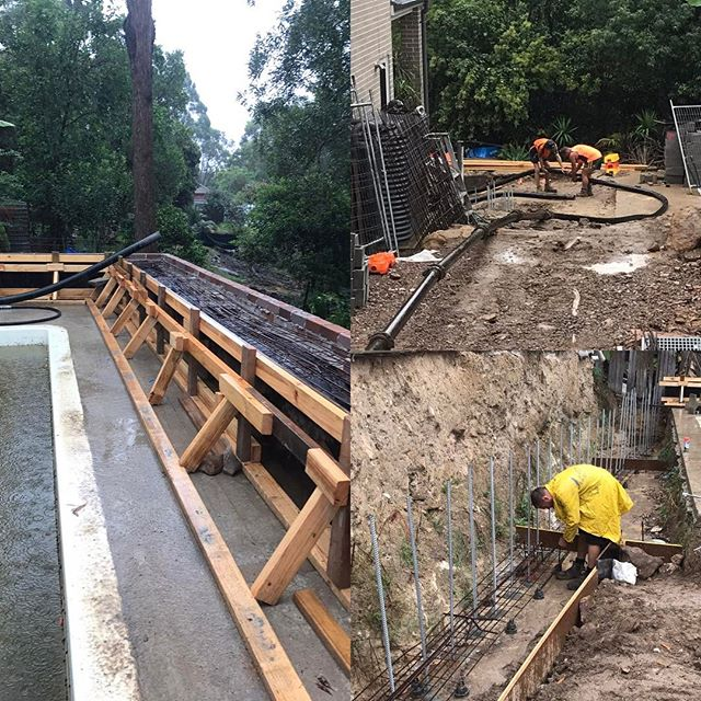 #stonecraftgardens #landscapeconstruction #concretepour #formwork #sydneylandscaper #duckysconcretepumping Awesome weather for concrete today? it's definitely not going to cure too fast. 12 cubic meters later we can finally get a start on the back retaining walls when everything dries out.