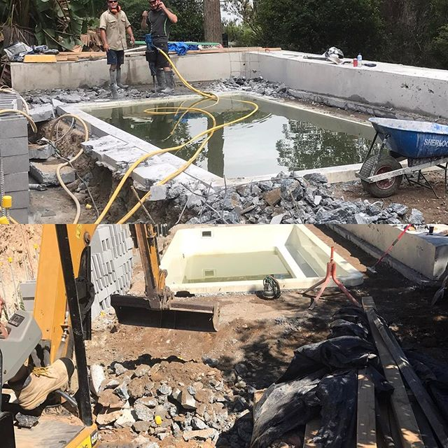 #landscapeconstruction #stonecraftgardens #landscapecontractorsydney #sydney #jackhammering Just a little problem, the pool shell has dropped 60mm over the years since install. Starting to prepare to lift the shell back to where it should be.